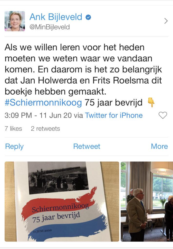 Tweet van minister Bijleveld