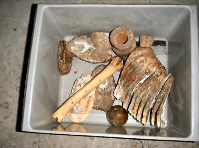 Diverse mammoet kies of tanden, fluitje van been in grijs bakje