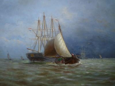Schilderij van de eilander schilder Teen Fenenga (Schepen)