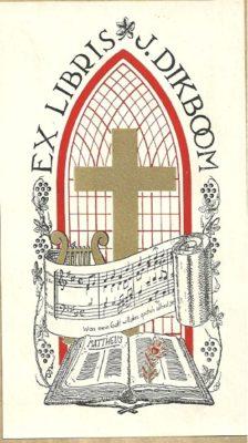 Het ex libris van dominee J.Dikboom