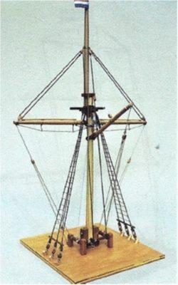 Model van de eerste zeevaartschoolmast