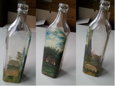 Fles beschilderd door Luitjen Elles